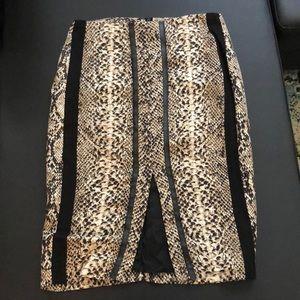 SILK CHEETAH PENCIL SKIRT , Zara size S